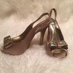 Lulu Townsend Taupe/gold glitter Platform heels